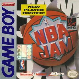 Box cover for NBA Jam on the Nintendo Game Boy.