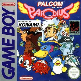 Box cover for Parodius on the Nintendo Game Boy.