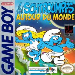 Box cover for Smurfs Travel the World on the Nintendo Game Boy.