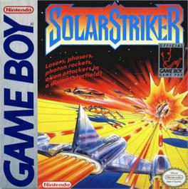 Box cover for Solar Striker on the Nintendo Game Boy.