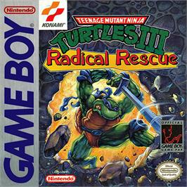 Box cover for Teenage Mutant Ninja Turtles 3: Radical Rescue on the Nintendo Game Boy.