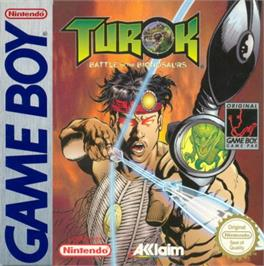 Box cover for Turok: Battle of the Bionosaurs on the Nintendo Game Boy.