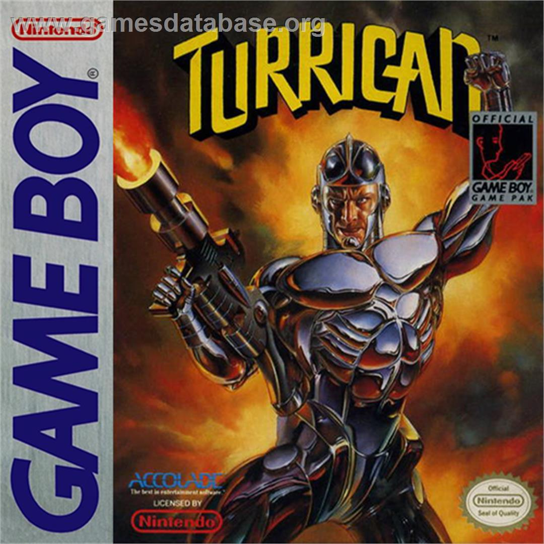 Box cover for Turrican on the Nintendo Game Boy.