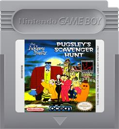 Cartridge artwork for Addams Family: Pugsley's Scavenger Hunt on the Nintendo Game Boy.
