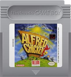 Cartridge artwork for Alfred Chicken on the Nintendo Game Boy.