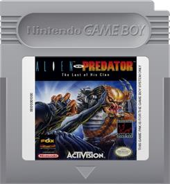 Cartridge artwork for Alien vs. Predator: The Last of His Clan on the Nintendo Game Boy.
