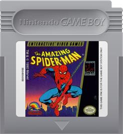 Cartridge artwork for Amazing Spider-Man on the Nintendo Game Boy.