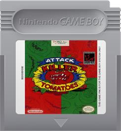 Cartridge artwork for Attack of the Killer Tomatoes on the Nintendo Game Boy.
