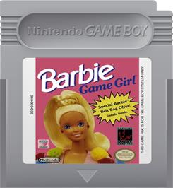 Cartridge artwork for Barbie Game Girl on the Nintendo Game Boy.