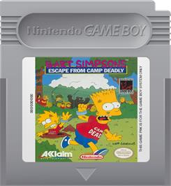 Cartridge artwork for Bart Simpson's Escape from Camp Deadly on the Nintendo Game Boy.
