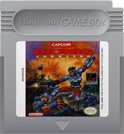 Cartridge artwork for Bionic Commando on the Nintendo Game Boy.