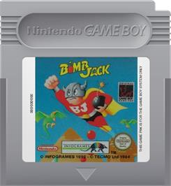 Cartridge artwork for Bomb Jack on the Nintendo Game Boy.
