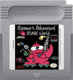 Cartridge artwork for Boomer's Adventure in ASMIK World on the Nintendo Game Boy.