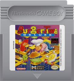 Cartridge artwork for BurgerTime Deluxe on the Nintendo Game Boy.