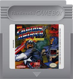 Cartridge artwork for Captain America and The Avengers on the Nintendo Game Boy.