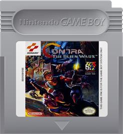 Cartridge artwork for Contra: The Alien Wars on the Nintendo Game Boy.