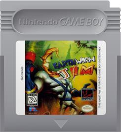 Cartridge artwork for Earthworm Jim on the Nintendo Game Boy.