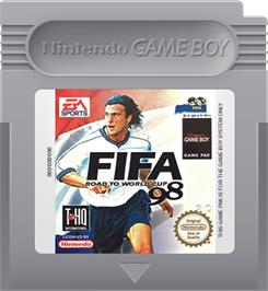 Cartridge artwork for FIFA 98: Road to World Cup on the Nintendo Game Boy.
