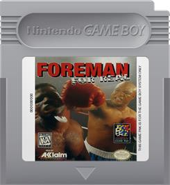 Cartridge artwork for Foreman for Real on the Nintendo Game Boy.