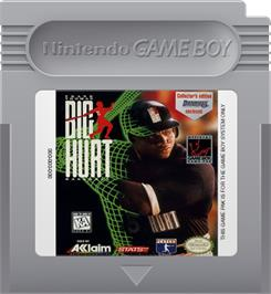 Cartridge artwork for Frank Thomas' Big Hurt Baseball on the Nintendo Game Boy.