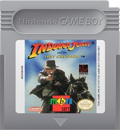Cartridge artwork for Indiana Jones and the Last Crusade: The Action Game on the Nintendo Game Boy.
