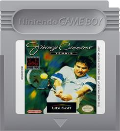 Cartridge artwork for Jimmy Connors Tennis on the Nintendo Game Boy.