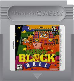 Cartridge artwork for Kirby's Block Ball on the Nintendo Game Boy.