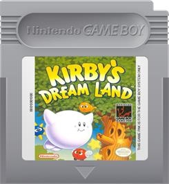 Cartridge artwork for Kirby's Dream Land on the Nintendo Game Boy.
