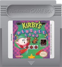 Cartridge artwork for Kirby's Pinball Land on the Nintendo Game Boy.