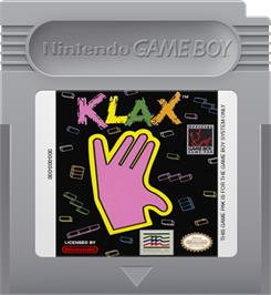 Cartridge artwork for Klax on the Nintendo Game Boy.