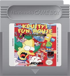 Cartridge artwork for Krusty's Fun House on the Nintendo Game Boy.