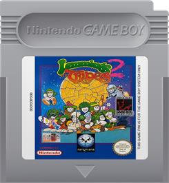Cartridge artwork for Lemmings 2: The Tribes on the Nintendo Game Boy.