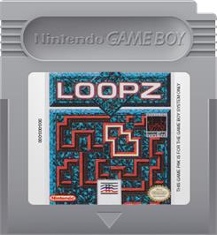 Cartridge artwork for Loopz on the Nintendo Game Boy.