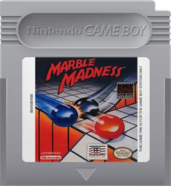 Cartridge artwork for Marble Madness on the Nintendo Game Boy.