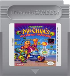 Cartridge artwork for Mr. Chin's Gourmet Paradise on the Nintendo Game Boy.