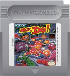 Cartridge artwork for Mr. Do! on the Nintendo Game Boy.