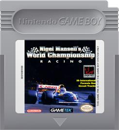 Cartridge artwork for Nigel Mansell's World Championship on the Nintendo Game Boy.