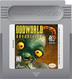 Cartridge artwork for Oddworld Adventures on the Nintendo Game Boy.