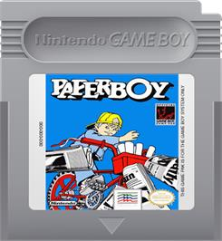 Cartridge artwork for Paperboy on the Nintendo Game Boy.