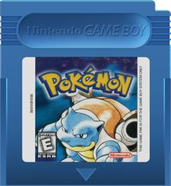 Cartridge artwork for Pokemon - Blue Version on the Nintendo Game Boy.
