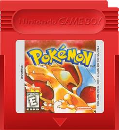 Cartridge artwork for Pokemon - Red Version on the Nintendo Game Boy.