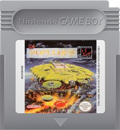 Cartridge artwork for Populous on the Nintendo Game Boy.