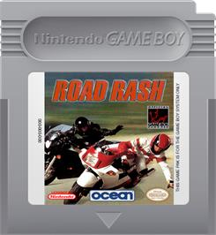 Cartridge artwork for Road Rash on the Nintendo Game Boy.