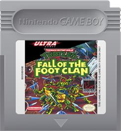 Cartridge artwork for Teenage Mutant Ninja Turtles:  Fall of the Foot Clan on the Nintendo Game Boy.