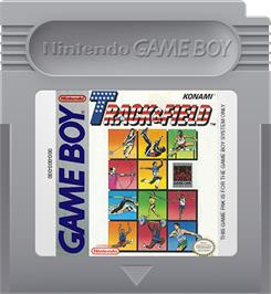 Cartridge artwork for Track & Field on the Nintendo Game Boy.