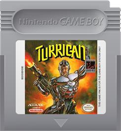 Cartridge artwork for Turrican on the Nintendo Game Boy.