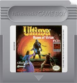 Cartridge artwork for Ultima: Runes of Virtue on the Nintendo Game Boy.