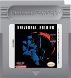 Cartridge artwork for Universal Soldier on the Nintendo Game Boy.
