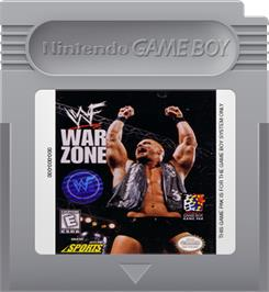 Cartridge artwork for WWF War Zone on the Nintendo Game Boy.