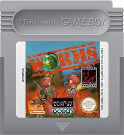 Cartridge artwork for Worms on the Nintendo Game Boy.
